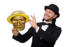 Der Mann mit der Theatermaske lokalisiert auf Weiß Stockfotografie