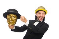 Der Mann mit der Theatermaske lokalisiert auf Weiß Lizenzfreies Stockbild