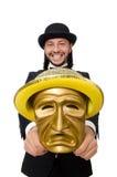 Der Mann mit der Theatermaske lokalisiert auf Weiß Lizenzfreie Stockfotos