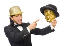 Der Mann mit der Theatermaske lokalisiert auf Weiß Stockfoto