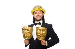 Der Mann mit der Theatermaske lokalisiert auf Weiß Stockfotos