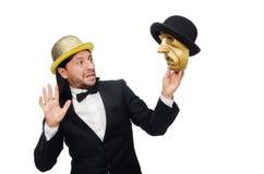 Der Mann mit der Theatermaske lokalisiert auf Weiß Lizenzfreie Stockfotografie