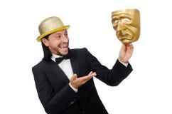 Der Mann mit der Theatermaske lokalisiert auf Weiß Lizenzfreie Stockbilder