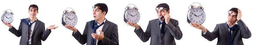 Der Mann mit der Uhr lokalisiert auf Weiß Lizenzfreies Stockfoto