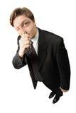Der Mann mit einem Vergrößerungsglas Stockfoto