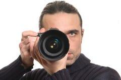 Der Mann mit einer Kamera Stockfotos