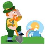 Der Mann mit einer Schaufel Tag St Patrick s Stockbild