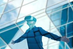 Der Mann mit Gläsern virtueller Realität Zukünftiges Technologiekonzept Moderne Bildgebungstechnologie stockfoto