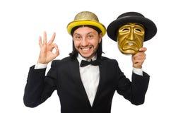 Der Mann mit Theatermaske auf Weiß Stockbilder