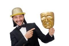 Der Mann mit Theatermaske auf Weiß Lizenzfreie Stockfotografie