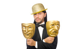 Der Mann mit Theatermaske auf Weiß Lizenzfreie Stockbilder