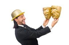 Der Mann mit Theatermaske auf Weiß Lizenzfreies Stockbild