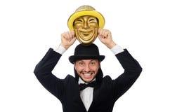 Der Mann mit Theatermaske auf Weiß Lizenzfreies Stockfoto