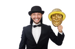 Der Mann mit Theatermaske auf Weiß Stockfoto