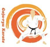 Der Mann nimmt an Karate auf einem hellen backg teil Lizenzfreies Stockbild