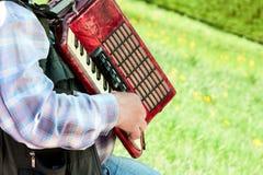 Der Mann spielt ein Akkordeon auf einem grünen Rasen Lizenzfreie Stockfotos