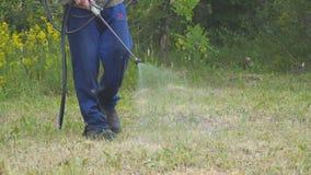 Der Mann sprüht das Gras gegen Insektenplagen Sprühen von Insektenvertilgungsmitteln am Rasen stock footage