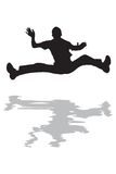 Der Mann springend in Wasser-Schattenbild Lizenzfreie Stockfotos
