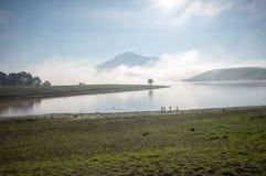 Der Mann stehen See anh alleinbaum auf dem See, Sonnenaufgang am mountai bereit, nebelig, Wolke auf dem Himmel Stockfotos