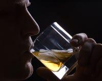 Der Mann trinkt Whisky mit Eis Lizenzfreie Stockfotos