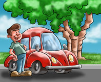Der Mann und das Auto Stockbilder
