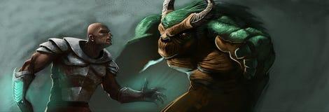 Der Mann und das Monster Stockbilder