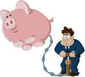 Der Mann und das Schwein stock abbildung