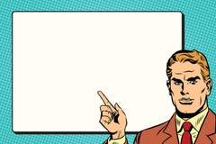 Der Mann zeigt auf eine Retro- Pop-Art des weißen Hintergrundblattes Stockbilder
