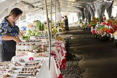 Der Markt des Landwirts in im Stadtzentrum gelegenem Hilo mit Ställen unter Dach Lizenzfreie Stockbilder