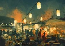 Der Markt nachts lizenzfreie abbildung