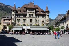 Der Marktplatz von Briga in der Schweiz Stockfotografie