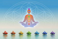 In der Meditation mit chakras Lizenzfreies Stockbild