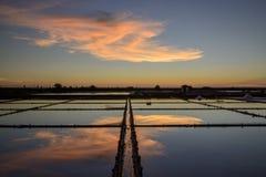 Der Meerblick auf Sonnenuntergangzeit ist auf dem Gebiet bunt Lizenzfreie Stockfotos
