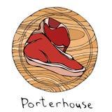 Der meiste populäre Steak Porterhouse auf einem runden hölzernen Schneidebrett Rindfleisch-Schnitt Fleisch-Führer für Metzger Sho stock abbildung