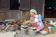 DER MEKONG-DELTA, VIETNAM - MAI 2014: Gewöhnliches Leben Stockbild