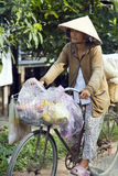DER MEKONG-DELTA, VIETNAM - MAI 2014: Radfahren mit vietnamesischem Hut Stockfoto