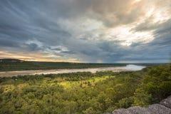 Der Mekong mit Sonnenuntergang Stockbilder
