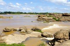 Der Mekong Rive und setzen a auf den Strand Lizenzfreies Stockbild