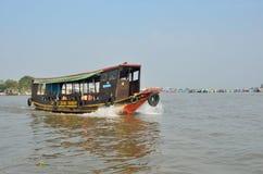 Der Mekong, Vietnam, Januar, 21, 2015 Boot im Tal des Mekongs in Vietnam Lizenzfreies Stockfoto