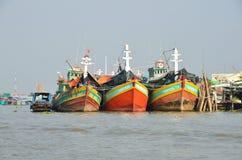 Der Mekong, Vietnam, Januar, 21, 2015 Boote im Tal des Mekongs in Vietnam Stockbilder