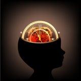 Der menschliche Kopf der Zeit mit den Gängen und Zähnen, die Idee zusammenarbeiten lizenzfreie abbildung