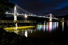 Der Mittel-Hudson-Draht-Hängebrücke und Pier - Sonnenuntergang/blaue Stunde - Hudson River - New York stockbild