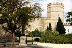Der mittelalterliche Festungskontrollturm des Alcazar, Jerez Lizenzfreies Stockbild