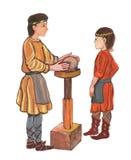 Der mittelalterliche Töpfer, der mit Lehm arbeitet - übergeben Sie gezogene Farbillustration, Teil des mittelalterlichen Reihensa lizenzfreie abbildung