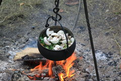 In der mittelalterlichen Feldküche Lizenzfreies Stockfoto