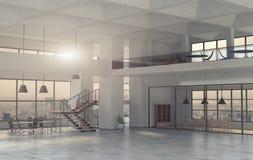 Der moderne Büroinnenraum in einer Tageszeit 3d übertragen Lizenzfreie Stockfotografie