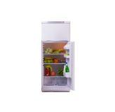 Der moderne Kühlschrank lokalisiert auf weißem Hintergrund stockbilder