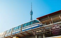 Der moderne Zug von Moskau-Einschienenbahn lizenzfreie stockbilder