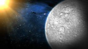 Der Mond in der Raum-Animation vektor abbildung