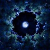 Der Mond hinter den Bäumen lizenzfreie abbildung